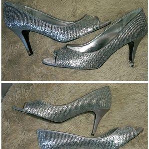 Silver sequin open toe pumps